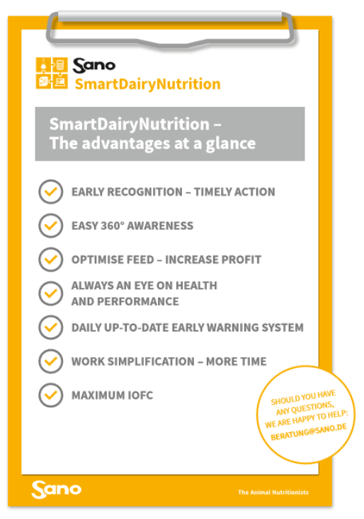 Virtual herd management - SmartDairyNutrition Sano